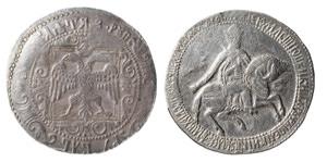 Первый серебряный рубль появляется в правление Алексея Михайловича.