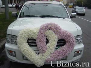 Пример украшения свадебного автомобиля