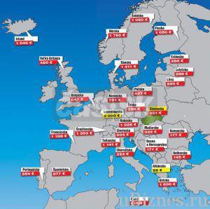 Карта европейских песний