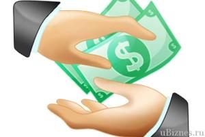 Нарисованная картинка где одна рука передает доллары другой, крупный план