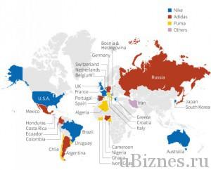 Nike vs. Adidas - популярность брендов в странах мира